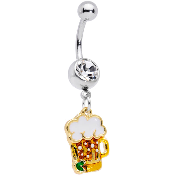 Clear Gem Beer Mug St Patricks Day Dangle Belly Ring