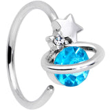 20 Gauge 1/4 Clear Blue Gem Star Saturn Nose Hoop