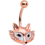 Clear Gem Rose Gold Tone Fashion Fox Belly Ring