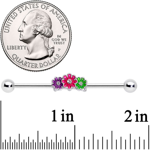 14 Gauge Clear Gem Floral Garland Industrial Barbell 38mm