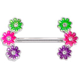 14 Gauge 9/16 Clear Gem Garland Flower Barbell Nipple Ring Set