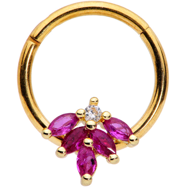 16 Gauge 3/8 Dark Red Gem Gold Tone Autumn Leaves Hinged Segment Ring