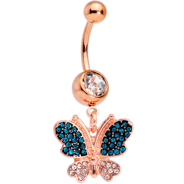 Clear Aqua Gems Rose Gold Tone Glam Butterfly Dangle Belly Ring
