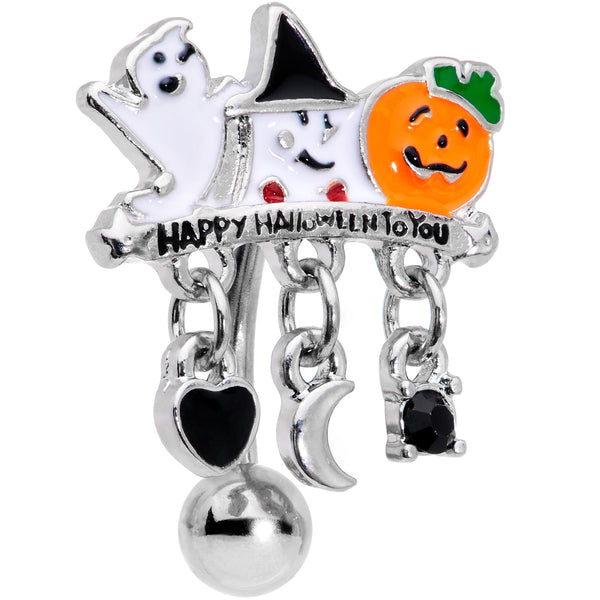 Black Gem Ghosts Pumpkin Halloween Dangle Top Mount Belly Ring