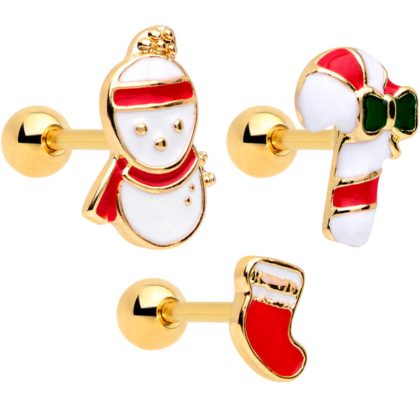 16 Gauge 1/4 Gold Tone Snowman Christmas Cartilage Tragus Set of 3