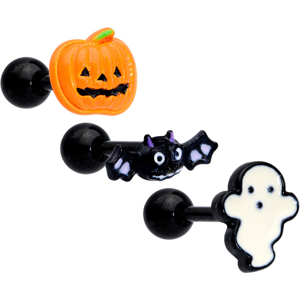 16 Gauge 1/4 Black Bat Ghost Halloween Cartilage Tragus Set of 3