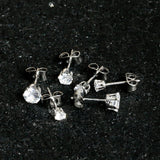 20 Gauge Clear CZ Gem 3mm to 5mm Post Stud Earring Set of 3