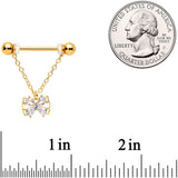 14 Gauge 11/16 Clear CZ Gem Gold Hue Beauty Bow Chain Nipple Ring Set