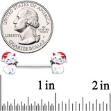 14 Gauge 9/16 White Cat Santa Hat Christmas Barbell Nipple Ring Set