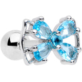 16 Gauge 1/4 Aqua CZ Gem Beauty Bow Cartilage Tragus Earring
