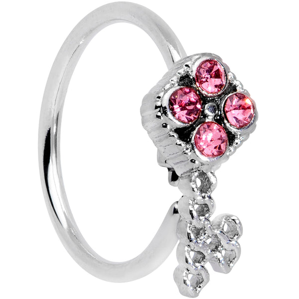 20 Gauge 5/16 Pink Gem Open Key Nose Hoop