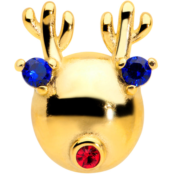 Blue Red CZ Gem Gold Tone Reindeer Christmas Barbell Tongue Ring