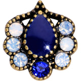 20 Gauge 5/16 Clear Blue Gem Gold Tone Heirloom Teardrop Nose Hoop
