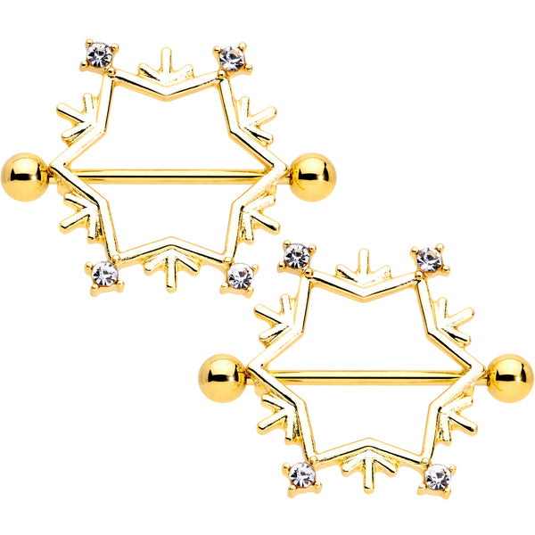 14 Gauge 3/4 Clear Gem Gold Tone Snowflake Christmas Nipple Shield Set