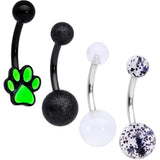 Black Clear Glitter Glow UV Glow Paw Belly Ring Set of 4