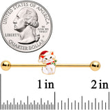 14 Gauge Gold Tone Cat Santa Hat Christmas Industrial Barbell 38mm