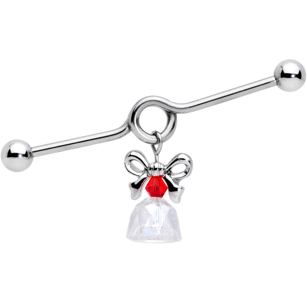 14 Gauge Clear Red Gem Bell Christmas Dangle Project Barbell 38mm
