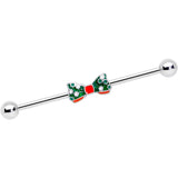14 Gauge Green Red White Bow Christmas Industrial Barbell 38mm