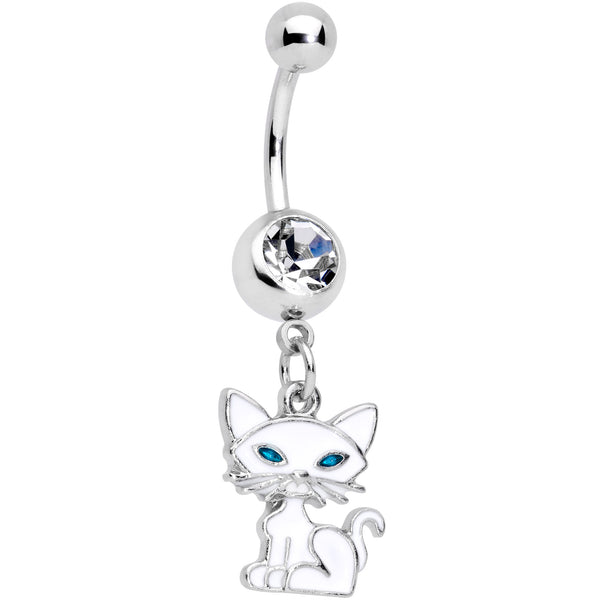 Clear Gem Blue Eyed White Cat Dangle Belly Ring
