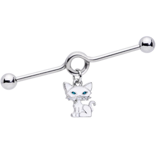 14 Gauge Blue Eyed White Cat Dangle Project Barbell 38mm