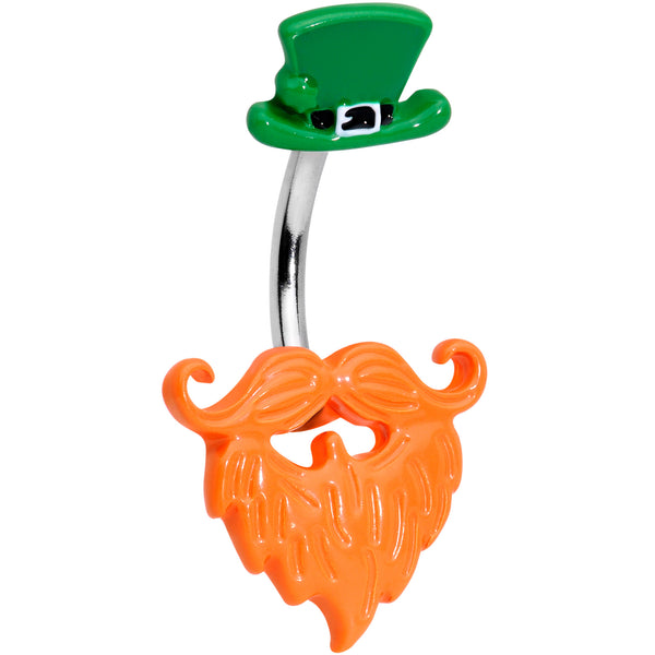 Green Hat Bearded Leprechaun St Patricks Day Belly Ring