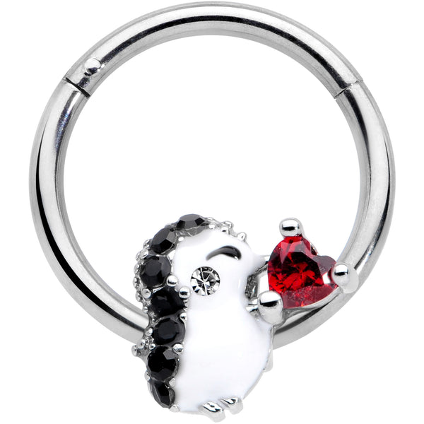 16 Gauge 3/8 Red Gem Penguin Heart Valentines Day Hinged Segment Ring