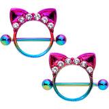 14 Gauge 9/16 Clear Gem Rainbow Kitty Cat Ears Nipple Shield Set