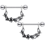 14 Gauge 9/16 Clear Gem Abstract Bow Butterfly Dangle Nipple Ring Set