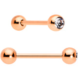 Clear Gem Rose Gold Tone Heart Pink Grey Barbell Tongue Ring Set of 4