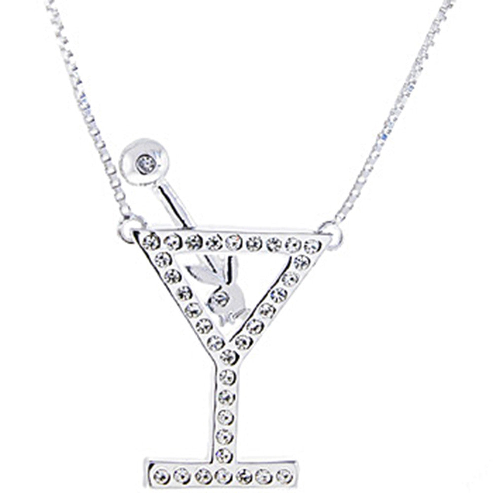 Sterling silver 925 playboy bunny jeweled martini glass pendant sterling silver 925 playboy bunny jeweled martini glass pendant necklace aloadofball Image collections