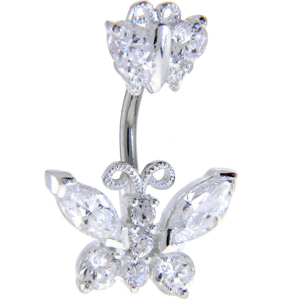 Sterling Silver 925 Crystalline Cubic Zirconia Double BUTTERFLY Belly Ring