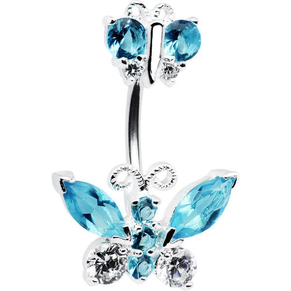 Sterling Silver 925 Aquamarine Cubic Zirconia Double BUTTERFLY Belly Ring