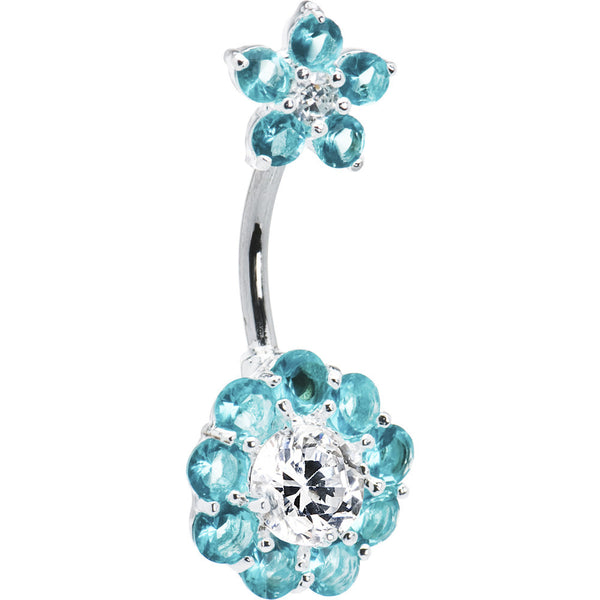 Sterling Silver 925 Aquamarine Cubic Zirconia Double FLOWER Belly Ring