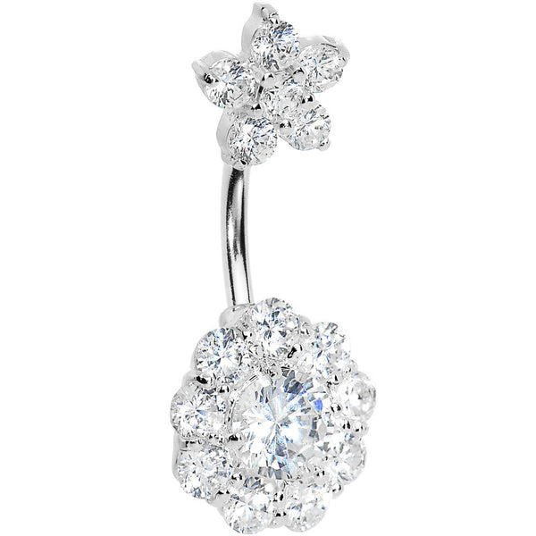 Sterling Silver 925 Crystalline Cubic Zirconia Double FLOWER Belly Ring