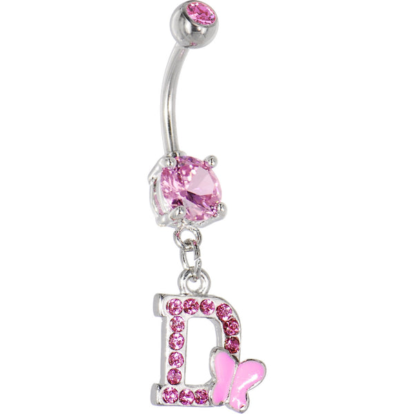 Pink Gem Butterfly INITIAL Dangle Belly Ring - LETTER D