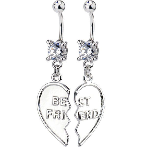 TWO Piece Set BEST FRIEND Dangle Belly Rings