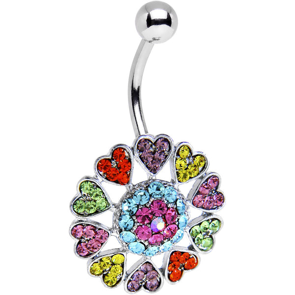 Multi Color Gem Heart Burst Reversible Top Mount Belly Ring