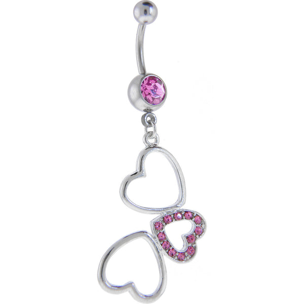 Pink Cubic Zirconia HOLLOW HEART TRIO Dangle Belly Ring