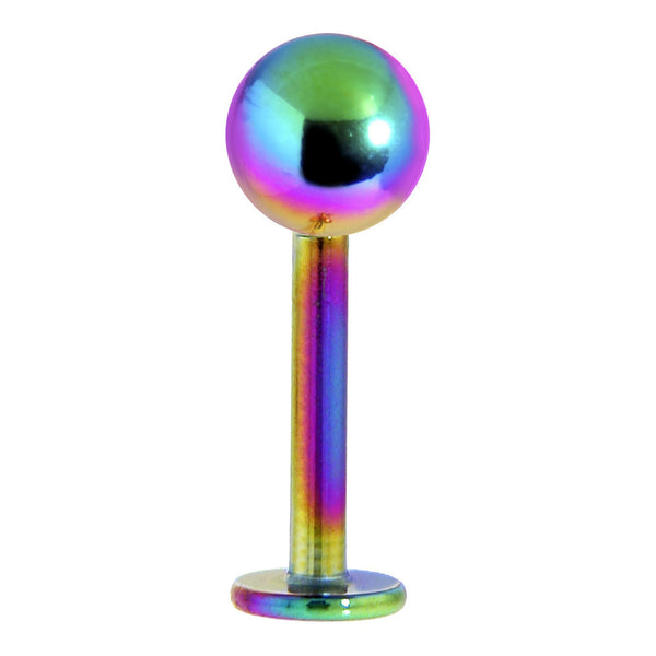 3/8 RAINBOW Titanium Labret Ball Body Jewelry