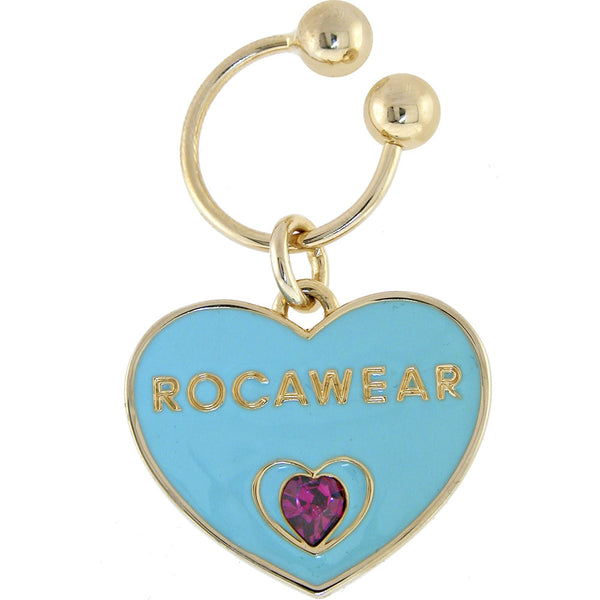 ROCAWEAR Gold Tone Austrian Crystal HEART to HEART Key Chain