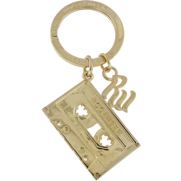 ROCAWEAR Gold Tone TAPE CASSETTE Key Chain