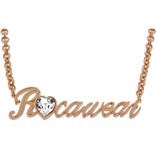 ROCAWEAR Austrian Crystal Rose Gold Tone SCRIPT Necklace