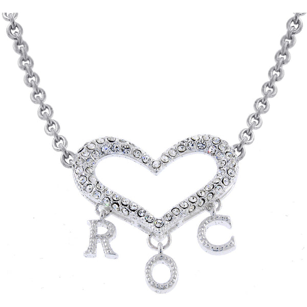 ROCAWEAR Austrian Crystal Silver ROC HEART Necklace
