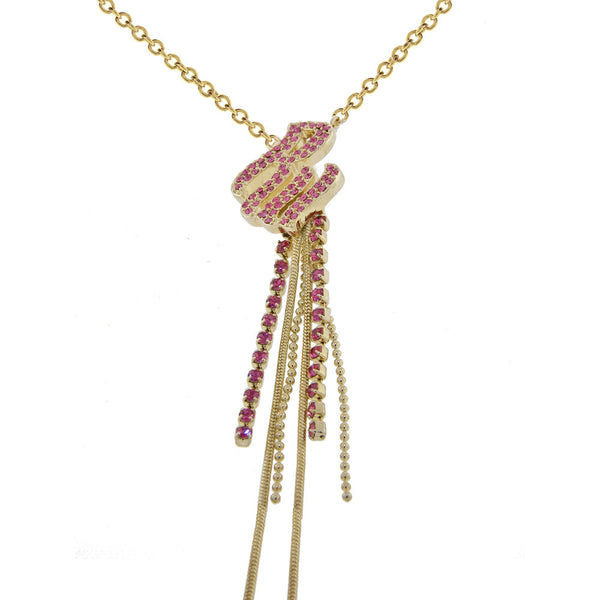 ROCAWEAR Pink Austrian Crystal Gold Tone RW FLAME DROP Necklace