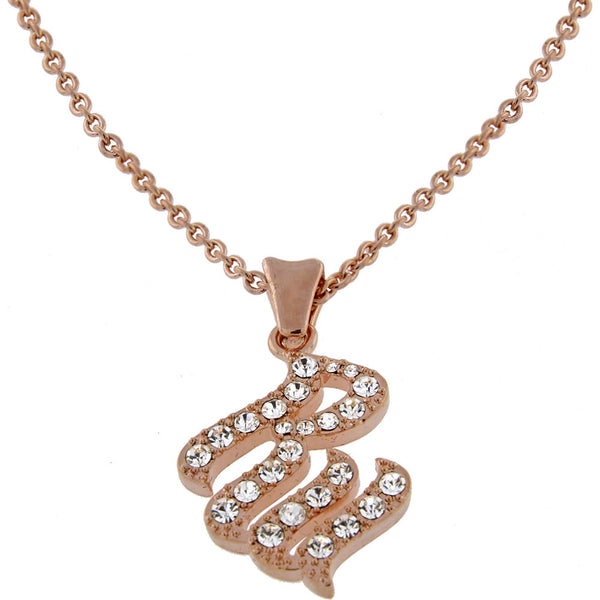 ROCAWEAR Austrian Crystal Rose Gold Tone RW FLAME Necklace