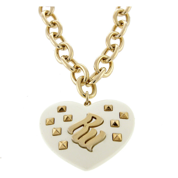 ROCAWEAR La Creme Resin RW Studded HEART Necklace