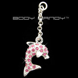 Passion Pink Gem  Dangling DOLPHIN Add On Charm
