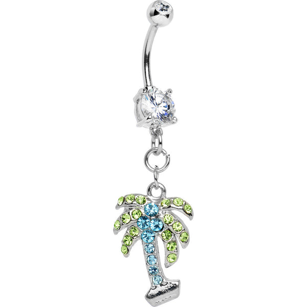 Aquamarine CUBIC ZIRCONIA Paved PALM TREE Dangle Belly Ring