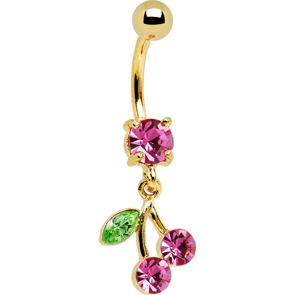 24KT Gold Plated PINK Cubic Zirconia CHERRY Belly Ring