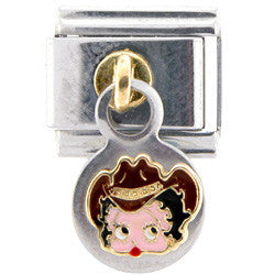 Officially Licensed BETTY BOOP COWBOY HAT Dangling Italian Charm